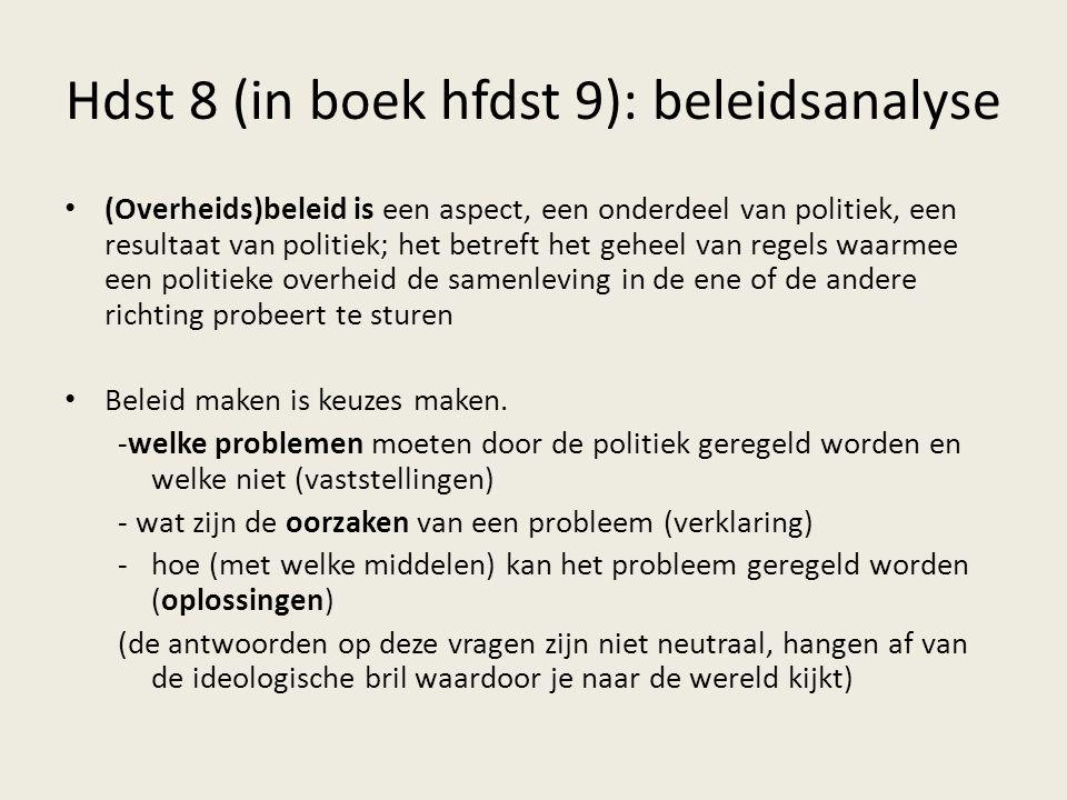Hdst 8 (in boek hfdst 9): beleidsanalyse (Overheids)beleid is een aspect, een onderdeel van politiek, een resultaat van politiek; het betreft het gehe
