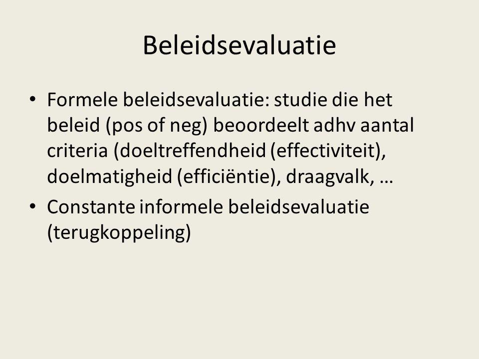 Beleidsevaluatie Formele beleidsevaluatie: studie die het beleid (pos of neg) beoordeelt adhv aantal criteria (doeltreffendheid (effectiviteit), doelm