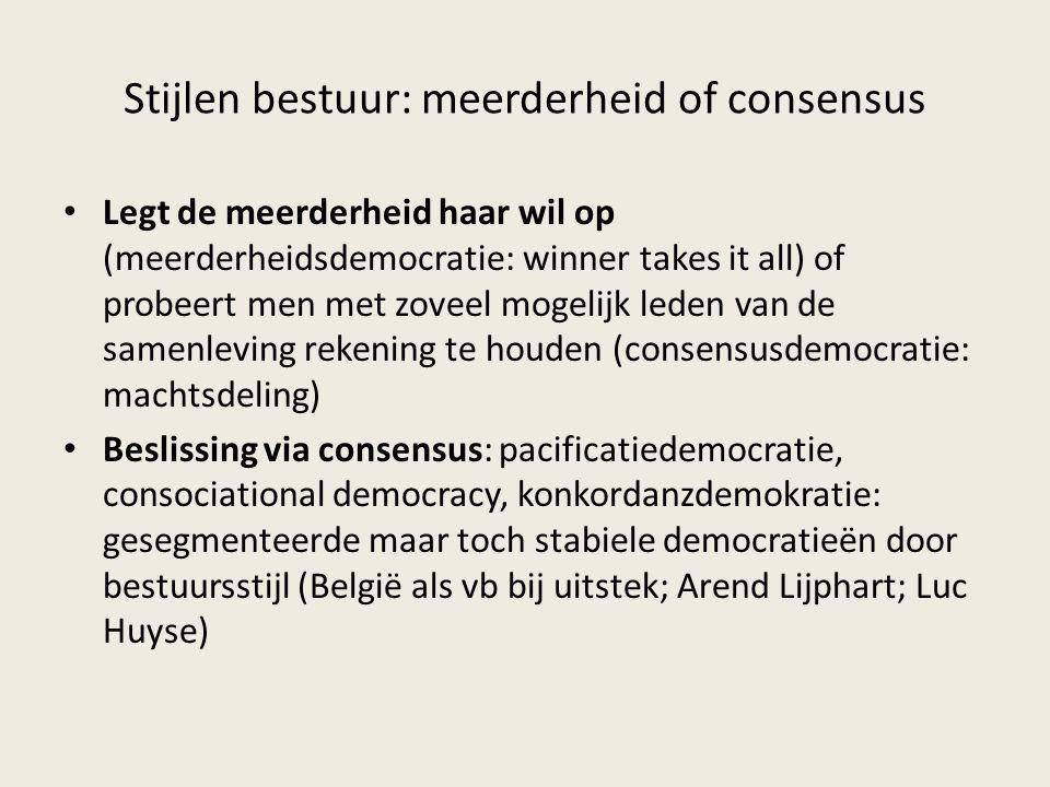 Stijlen bestuur: meerderheid of consensus Legt de meerderheid haar wil op (meerderheidsdemocratie: winner takes it all) of probeert men met zoveel mog