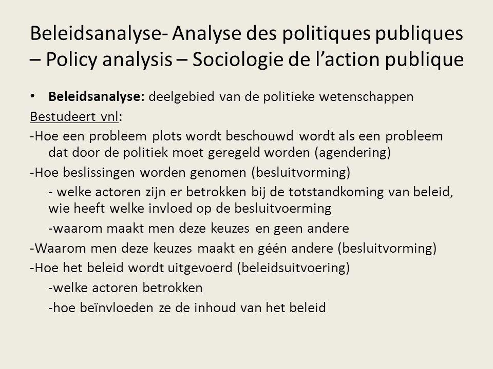 Beleidsanalyse- Analyse des politiques publiques – Policy analysis – Sociologie de l'action publique Beleidsanalyse: deelgebied van de politieke weten