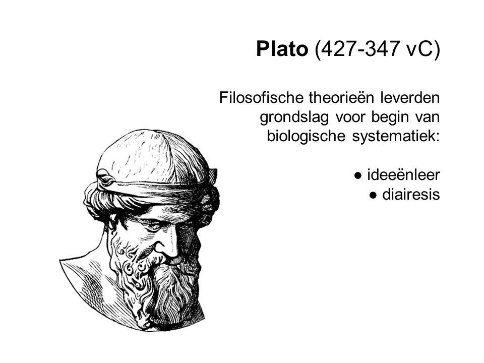 Plato (427-347 vC) Filosofische theorieën leverden grondslag voor begin van biologische systematiek: ● ideeënleer ● diairesis