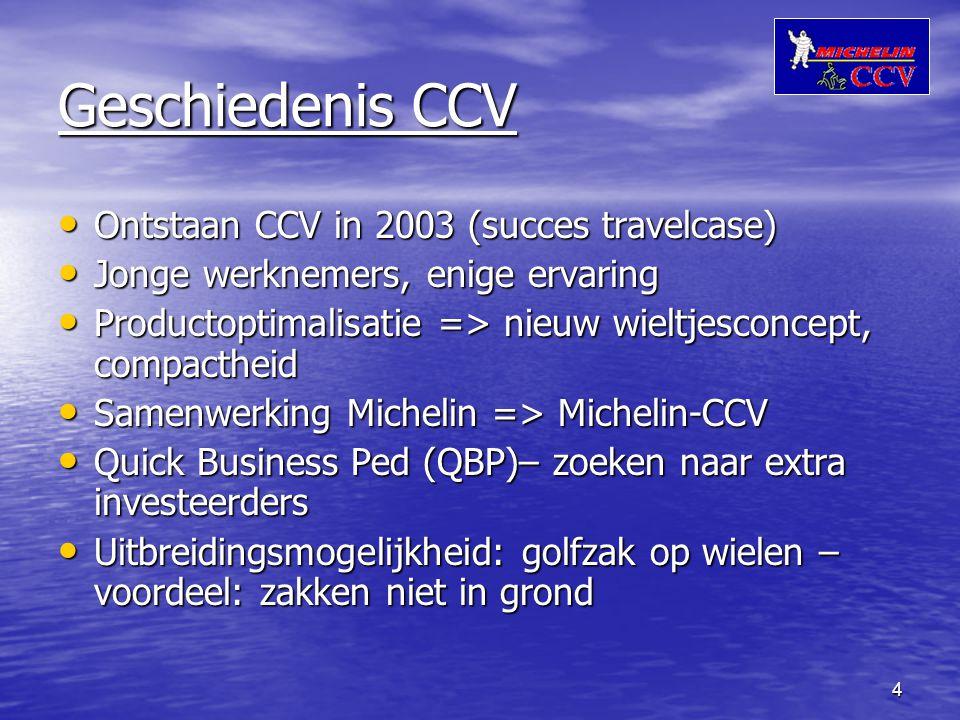 4 Geschiedenis CCV Ontstaan CCV in 2003 (succes travelcase) Ontstaan CCV in 2003 (succes travelcase) Jonge werknemers, enige ervaring Jonge werknemers, enige ervaring Productoptimalisatie => nieuw wieltjesconcept, compactheid Productoptimalisatie => nieuw wieltjesconcept, compactheid Samenwerking Michelin => Michelin-CCV Samenwerking Michelin => Michelin-CCV Quick Business Ped (QBP)– zoeken naar extra investeerders Quick Business Ped (QBP)– zoeken naar extra investeerders Uitbreidingsmogelijkheid: golfzak op wielen – voordeel: zakken niet in grond Uitbreidingsmogelijkheid: golfzak op wielen – voordeel: zakken niet in grond