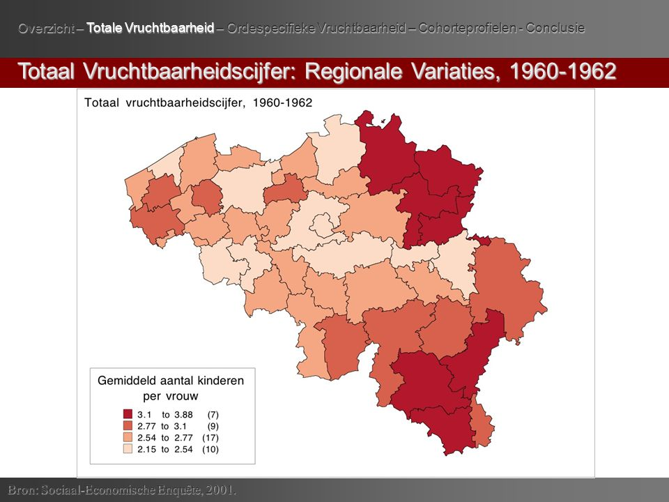 Totaal Vruchtbaarheidscijfer: Regionale Variaties, 1960-1962 Bron: Sociaal-Economische Enquête, 2001.
