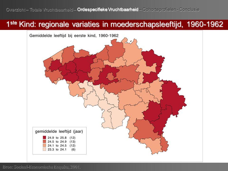 1 ste Kind: regionale variaties in moederschapsleeftijd, 1960-1962 Bron: Sociaal-Economische Enquête, 2001.