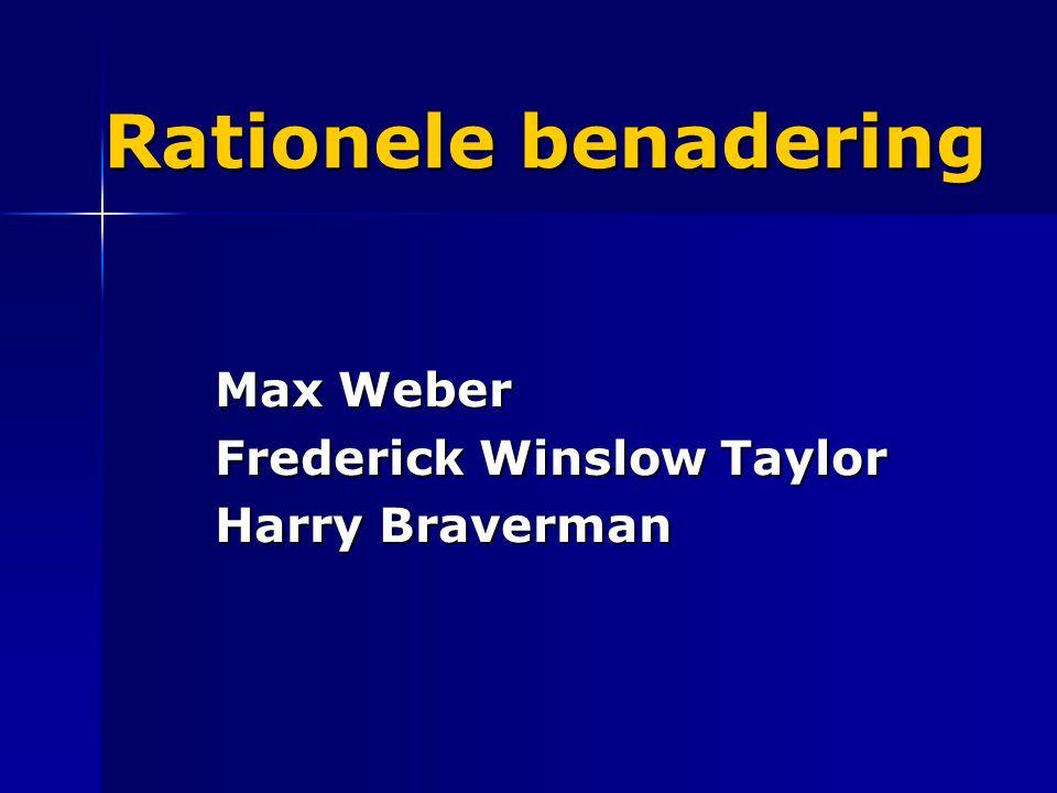 Rationele benadering Max Weber Frederick Winslow Taylor Harry Braverman