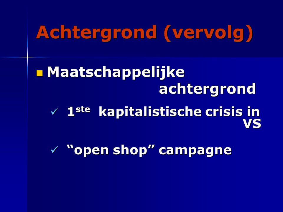 Achtergrond (vervolg) Maatschappelijke achtergrond Maatschappelijke achtergrond 1 ste kapitalistische crisis in VS 1 ste kapitalistische crisis in VS open shop campagne open shop campagne