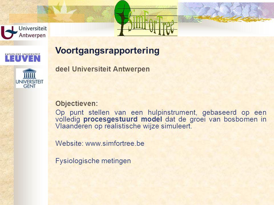 Voortgangsrapportering deel Universiteit Antwerpen Objectieven: Op punt stellen van een hulpinstrument, gebaseerd op een volledig procesgestuurd model
