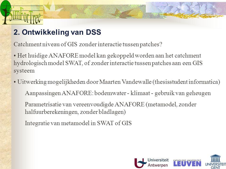 2. Ontwikkeling van DSS Catchment niveau of GIS zonder interactie tussen patches? Het huidige ANAFORE model kan gekoppeld worden aan het catchment hyd