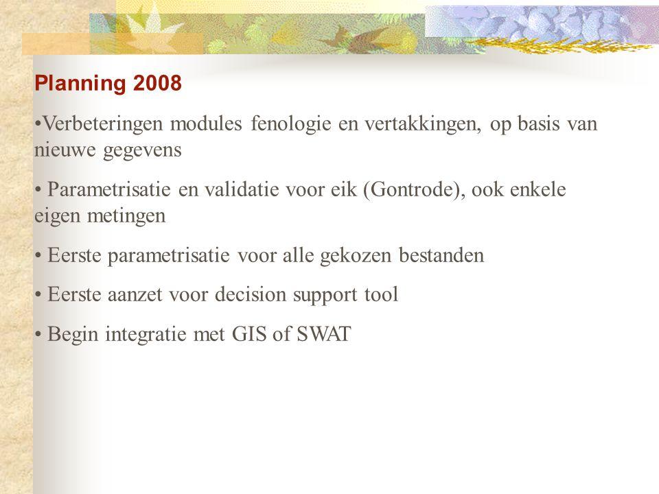 Planning 2008 Verbeteringen modules fenologie en vertakkingen, op basis van nieuwe gegevens Parametrisatie en validatie voor eik (Gontrode), ook enkel