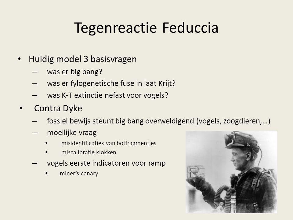 Tegenreactie Feduccia Huidig model 3 basisvragen – was er big bang? – was er fylogenetische fuse in laat Krijt? – was K-T extinctie nefast voor vogels