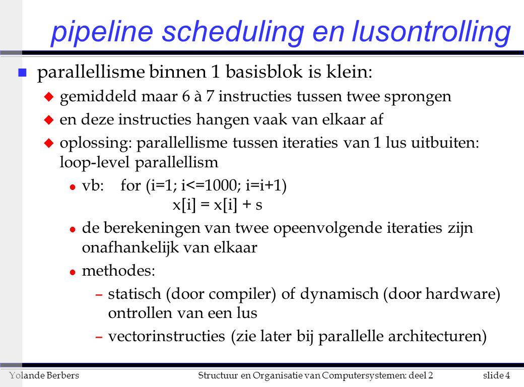 slide 5Structuur en Organisatie van Computersystemen: deel 2Yolande Berbers pipeline scheduling en lusontrolling (vervolg) n vermijden van stalls: de afhankelijke instructies ver van elkaar verwijderen n gebruikte latencies in de volgende voorbeelden u FP ALUop voor ander FP ALU op3 u FP ALU op voor STORE2 u LOAD double voor FP ALU op1 n niet-geoptimiseerde DLX code voor ons voorbeeld, met telkens aangegeven welke klokcycli gebruikt worden L: LDF0, 0(R1)1+2 ADDDF4, F0, F23+4+5 SD0(R1), F46 SUBIR1, R1, 87 BNEZR1, L8+9
