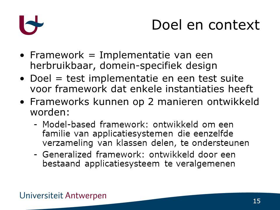 15 Doel en context Framework = Implementatie van een herbruikbaar, domein-specifiek design Doel = test implementatie en een test suite voor framework dat enkele instantiaties heeft Frameworks kunnen op 2 manieren ontwikkeld worden: -Model-based framework: ontwikkeld om een familie van applicatiesystemen die eenzelfde verzameling van klassen delen, te ondersteunen -Generalized framework: ontwikkeld door een bestaand applicatiesysteem te veralgemenen