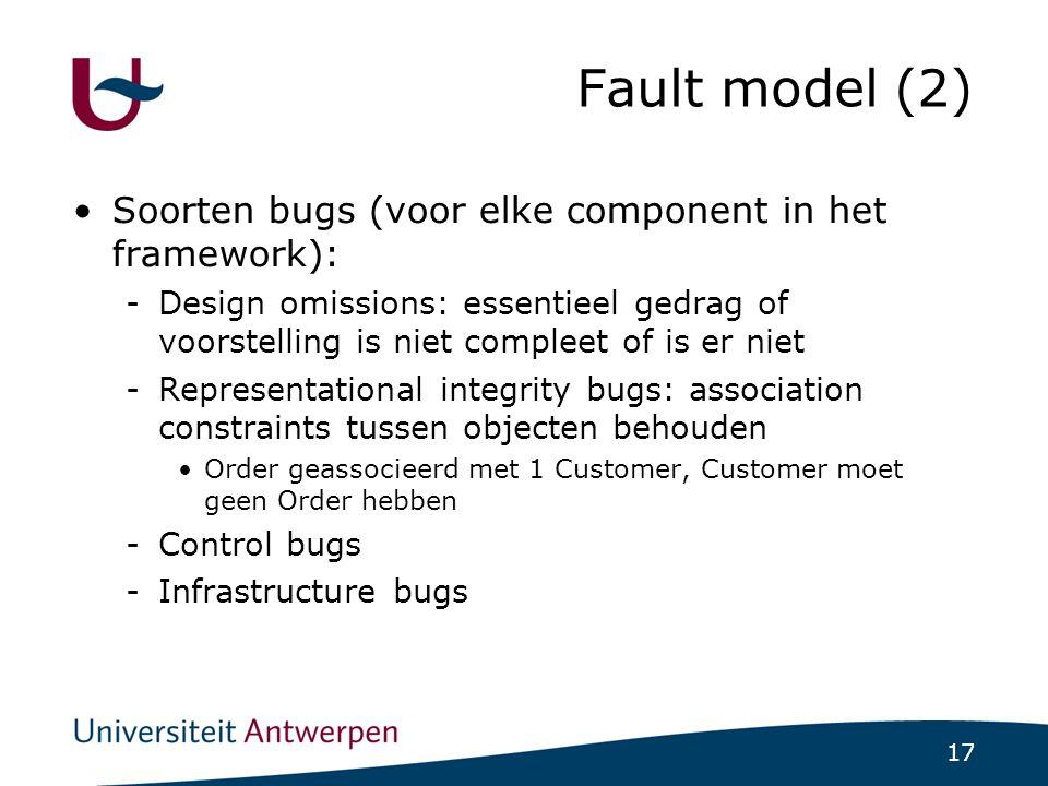 17 Fault model (2)  Soorten bugs (voor elke component in het framework): -Design omissions: essentieel gedrag of voorstelling is niet compleet of is er niet -Representational integrity bugs: association constraints tussen objecten behouden Order geassocieerd met 1 Customer, Customer moet geen Order hebben -Control bugs -Infrastructure bugs