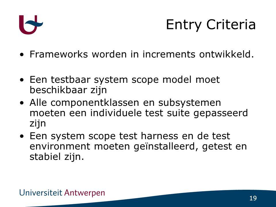 19 Entry Criteria Frameworks worden in increments ontwikkeld.