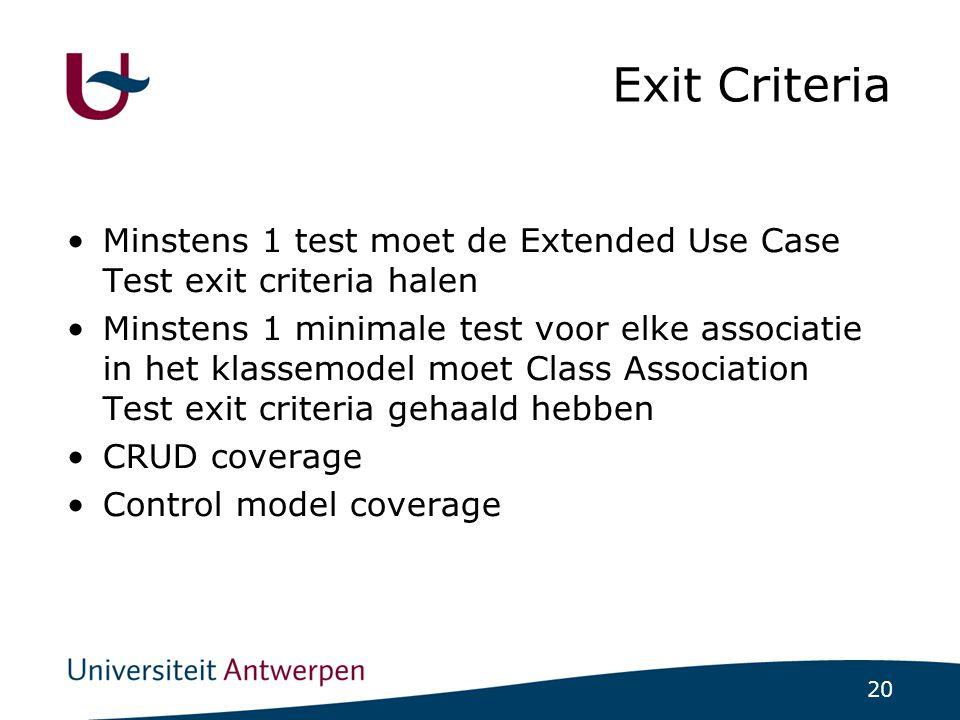 20 Exit Criteria Minstens 1 test moet de Extended Use Case Test exit criteria halen Minstens 1 minimale test voor elke associatie in het klassemodel moet Class Association Test exit criteria gehaald hebben CRUD coverage Control model coverage