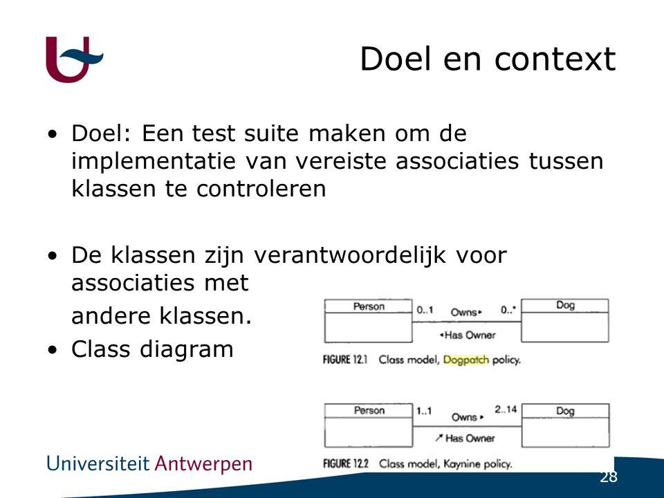 28 Doel en context Doel: Een test suite maken om de implementatie van vereiste associaties tussen klassen te controleren De klassen zijn verantwoordelijk voor associaties met andere klassen.