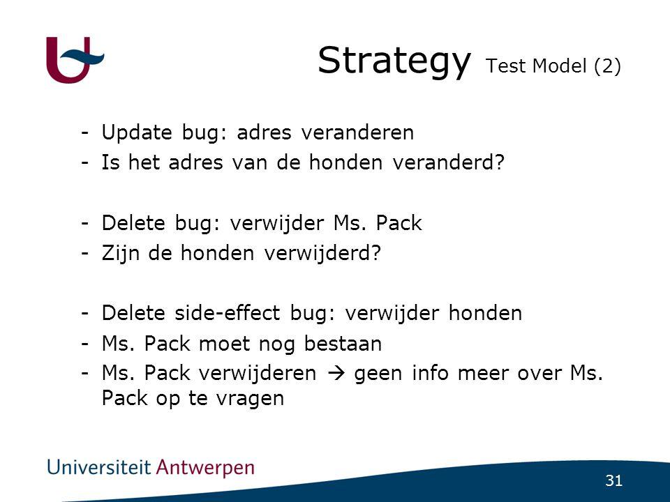 31 Strategy Test Model (2)  -Update bug: adres veranderen -Is het adres van de honden veranderd.