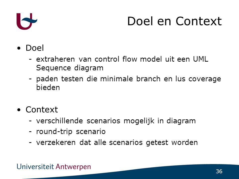 36 Doel en Context Doel -extraheren van control flow model uit een UML Sequence diagram -paden testen die minimale branch en lus coverage bieden Context -verschillende scenarios mogelijk in diagram -round-trip scenario -verzekeren dat alle scenarios getest worden
