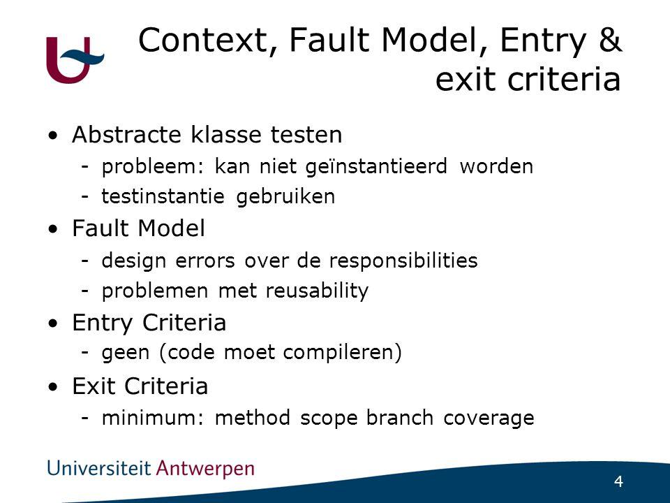 4 Context, Fault Model, Entry & exit criteria Abstracte klasse testen -probleem: kan niet geïnstantieerd worden -testinstantie gebruiken Fault Model -design errors over de responsibilities -problemen met reusability Entry Criteria -geen (code moet compileren)  Exit Criteria -minimum: method scope branch coverage