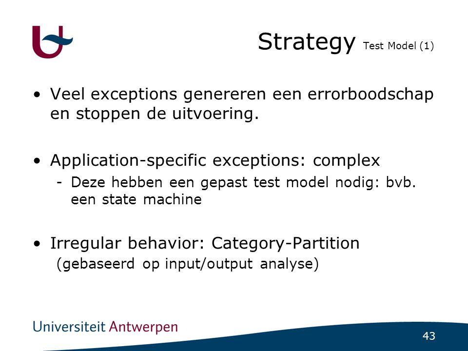 43 Strategy Test Model (1)  Veel exceptions genereren een errorboodschap en stoppen de uitvoering.