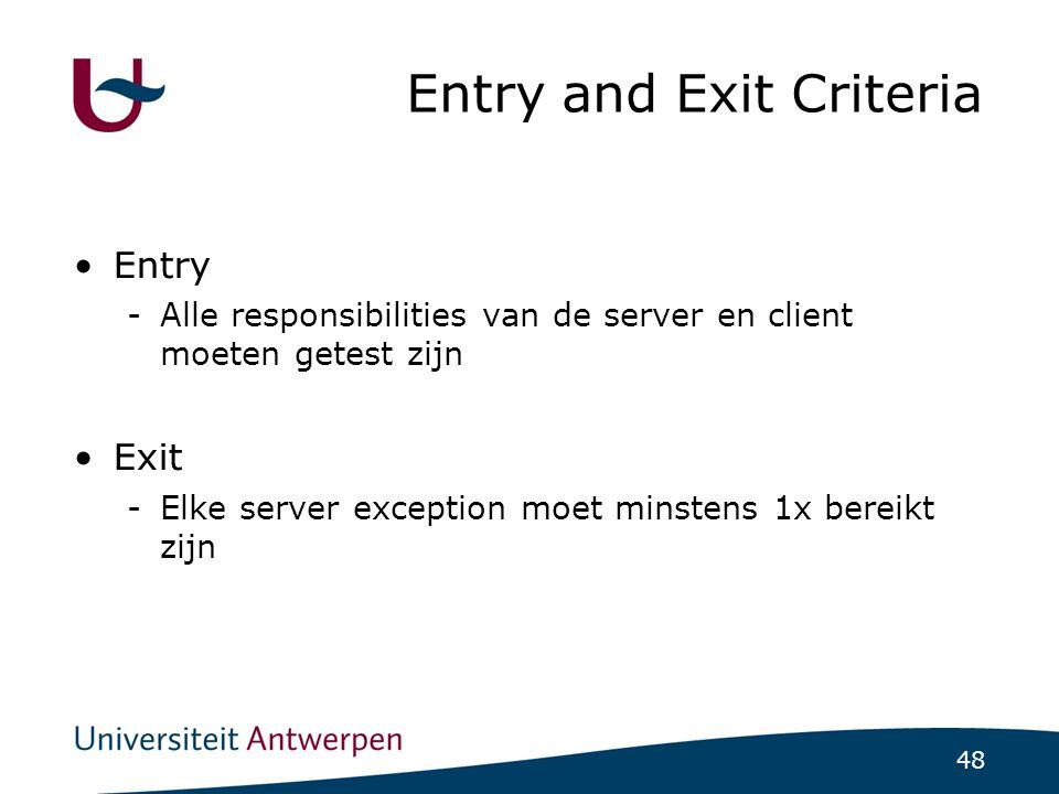 48 Entry and Exit Criteria Entry -Alle responsibilities van de server en client moeten getest zijn Exit -Elke server exception moet minstens 1x bereikt zijn