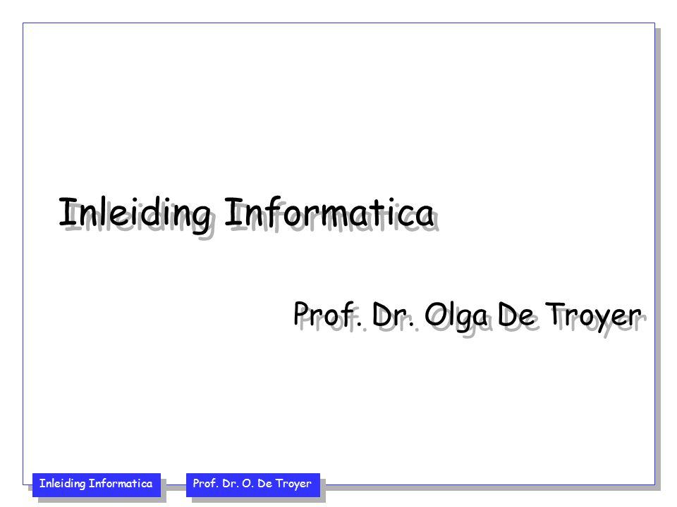 Inleiding Informatica Prof. Dr. O. De Troyer Hoofdstuk I: Kennismaking met Java