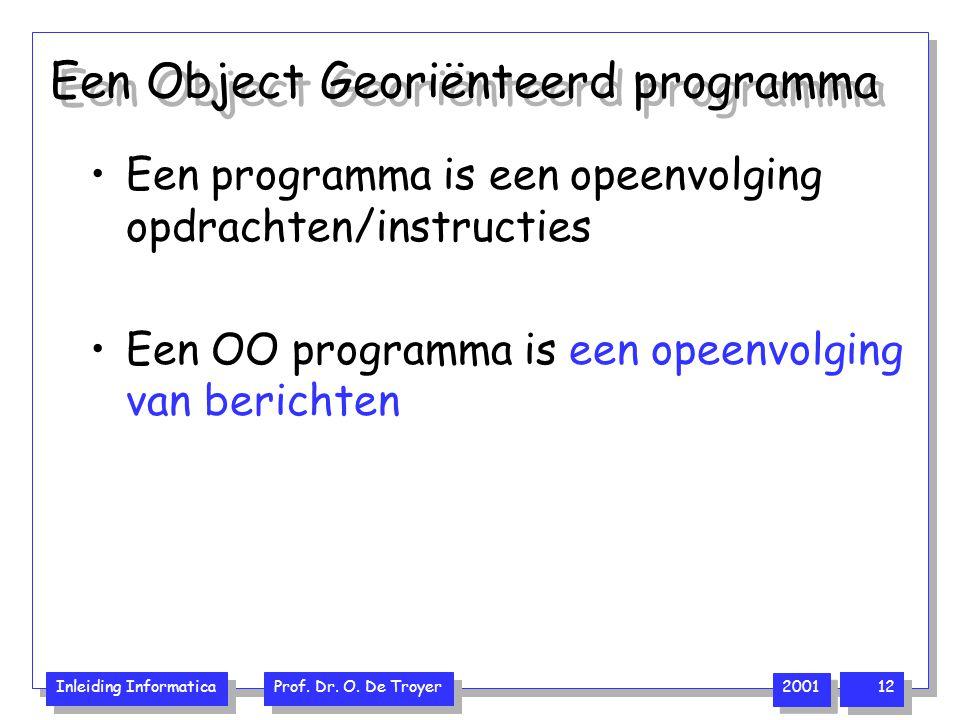 Inleiding Informatica Prof. Dr. O. De Troyer 2001 12 Een Object Georiënteerd programma Een programma is een opeenvolging opdrachten/instructies Een OO