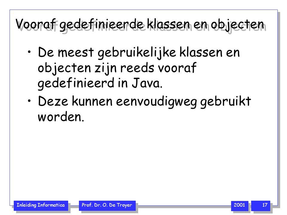 Inleiding Informatica Prof. Dr. O. De Troyer 2001 17 Vooraf gedefinieerde klassen en objecten De meest gebruikelijke klassen en objecten zijn reeds vo