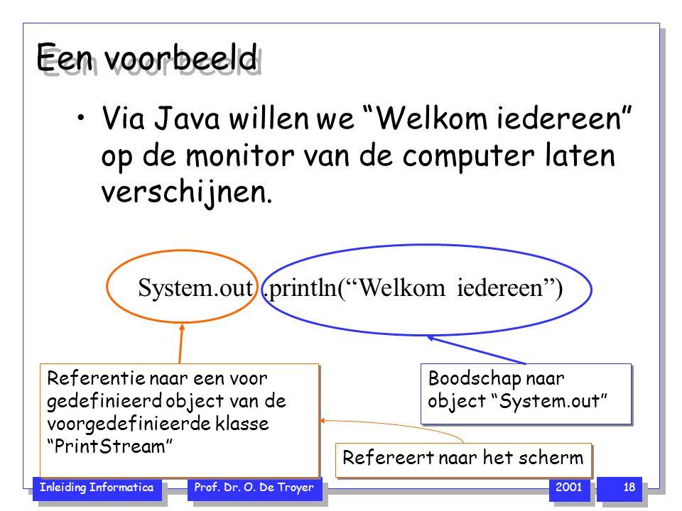 """Inleiding Informatica Prof. Dr. O. De Troyer 2001 18 Een voorbeeld Via Java willen we """"Welkom iedereen"""" op de monitor van de computer laten verschijne"""