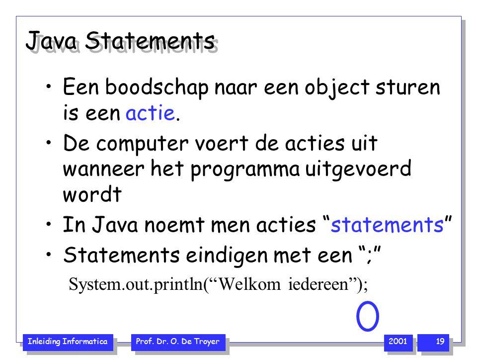 Inleiding Informatica Prof. Dr. O. De Troyer 2001 19 Java Statements Een boodschap naar een object sturen is een actie. De computer voert de acties ui