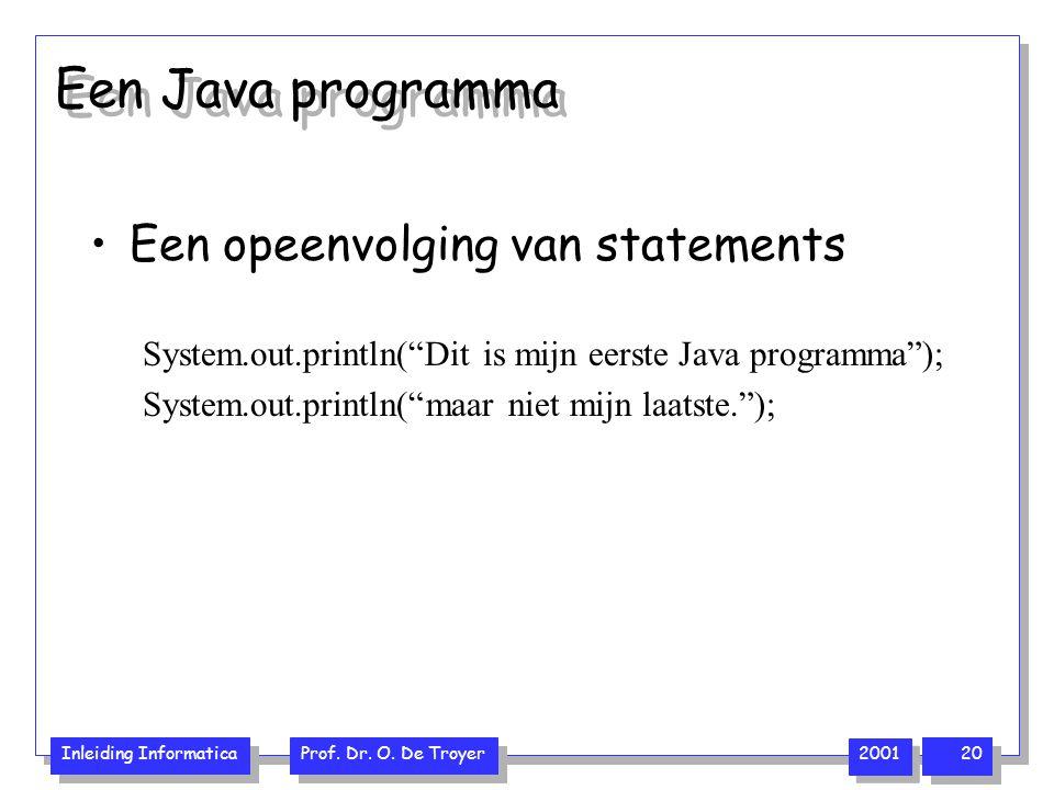 """Inleiding Informatica Prof. Dr. O. De Troyer 2001 20 Een Java programma Een opeenvolging van statements System.out.println(""""Dit is mijn eerste Java pr"""