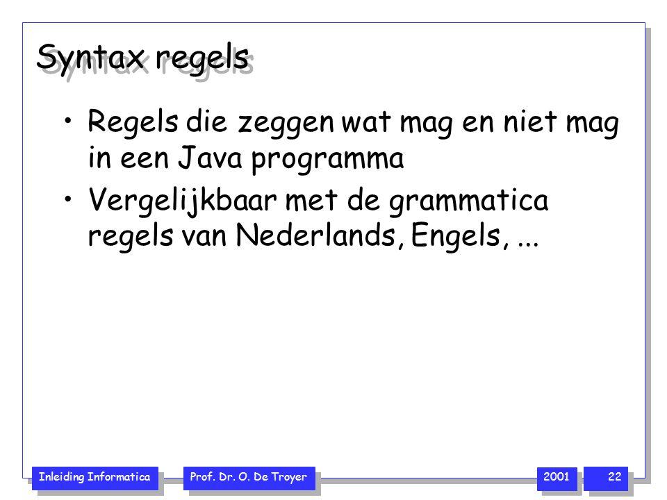 Inleiding Informatica Prof. Dr. O. De Troyer 2001 22 Syntax regels Regels die zeggen wat mag en niet mag in een Java programma Vergelijkbaar met de gr