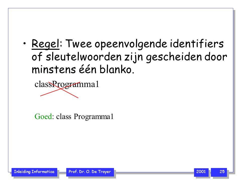 Inleiding Informatica Prof. Dr. O. De Troyer 2001 25 Regel: Twee opeenvolgende identifiers of sleutelwoorden zijn gescheiden door minstens één blanko.