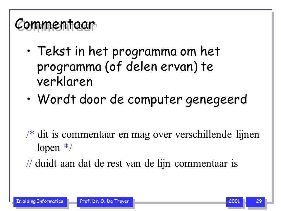 Inleiding Informatica Prof. Dr. O. De Troyer 2001 29 Commentaar Tekst in het programma om het programma (of delen ervan) te verklaren Wordt door de co