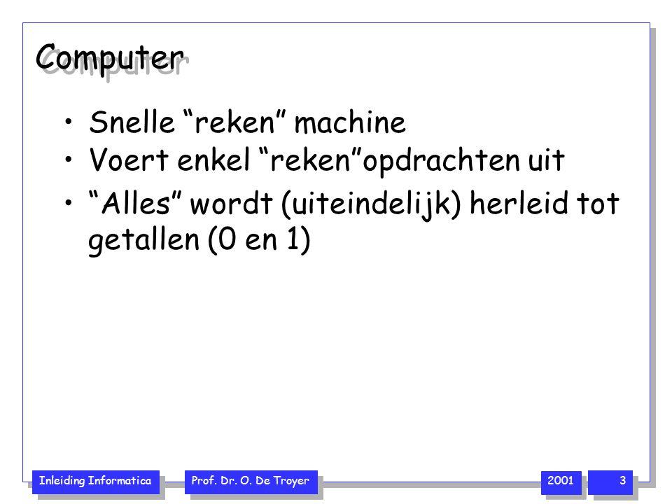 """Inleiding Informatica Prof. Dr. O. De Troyer 2001 3 Computer Snelle """"reken"""" machine Voert enkel """"reken""""opdrachten uit """"Alles"""" wordt (uiteindelijk) her"""
