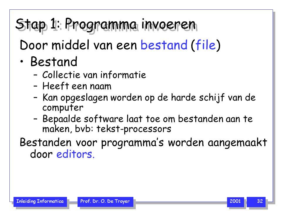 Inleiding Informatica Prof. Dr. O. De Troyer 2001 32 Stap 1: Programma invoeren Door middel van een bestand (file) Bestand –Collectie van informatie –
