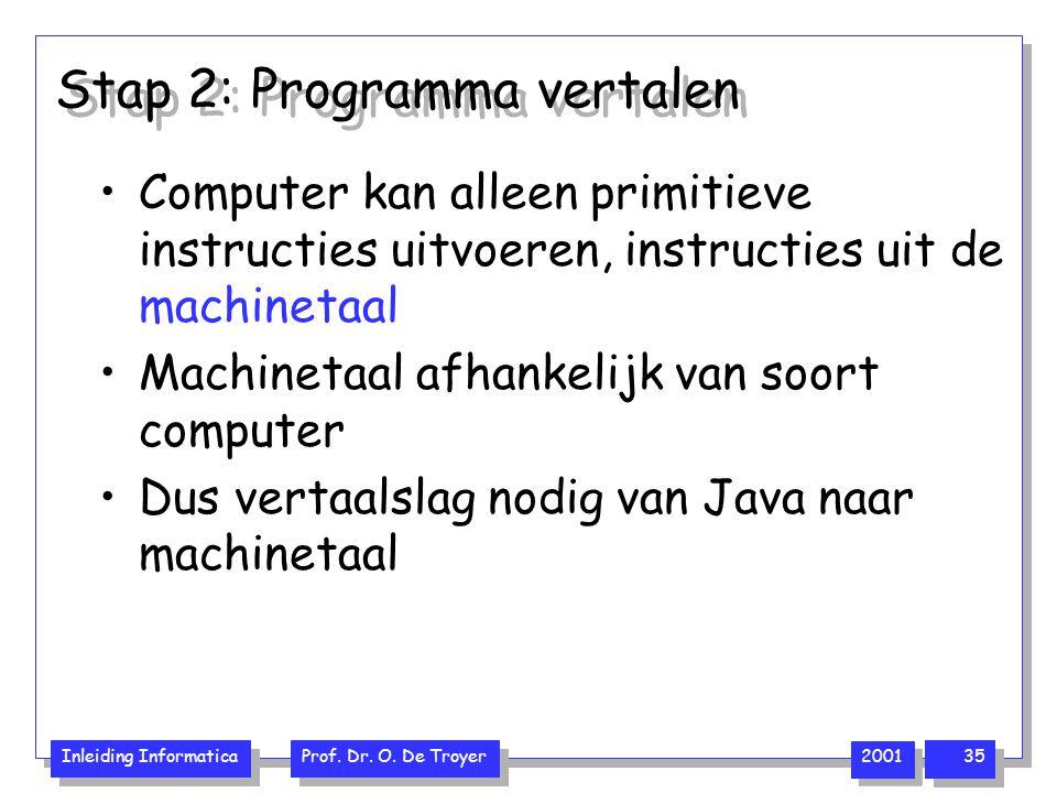 Inleiding Informatica Prof. Dr. O. De Troyer 2001 35 Stap 2: Programma vertalen Computer kan alleen primitieve instructies uitvoeren, instructies uit