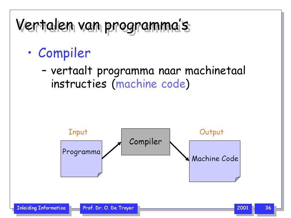 Inleiding Informatica Prof. Dr. O. De Troyer 2001 36 Vertalen van programma's Compiler –vertaalt programma naar machinetaal instructies (machine code)