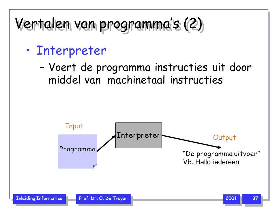 Inleiding Informatica Prof. Dr. O. De Troyer 2001 37 Vertalen van programma's (2) Interpreter –Voert de programma instructies uit door middel van mach