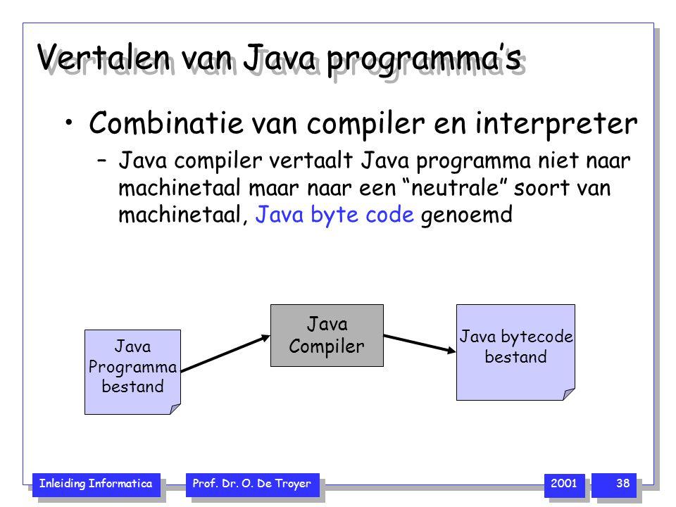 Inleiding Informatica Prof. Dr. O. De Troyer 2001 38 Vertalen van Java programma's Combinatie van compiler en interpreter –Java compiler vertaalt Java