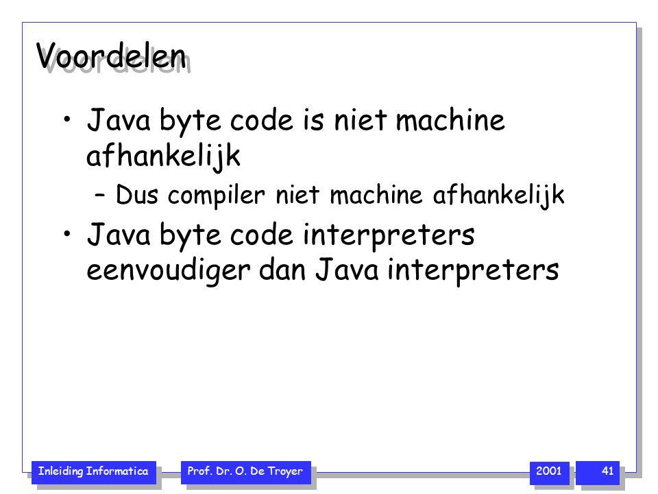 Inleiding Informatica Prof. Dr. O. De Troyer 2001 41 Voordelen Java byte code is niet machine afhankelijk –Dus compiler niet machine afhankelijk Java