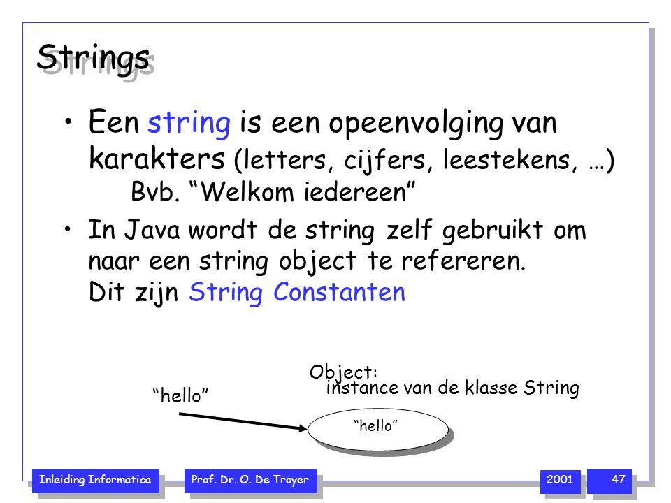 """Inleiding Informatica Prof. Dr. O. De Troyer 2001 47 Strings Een string is een opeenvolging van karakters (letters, cijfers, leestekens, …) Bvb. """"Welk"""
