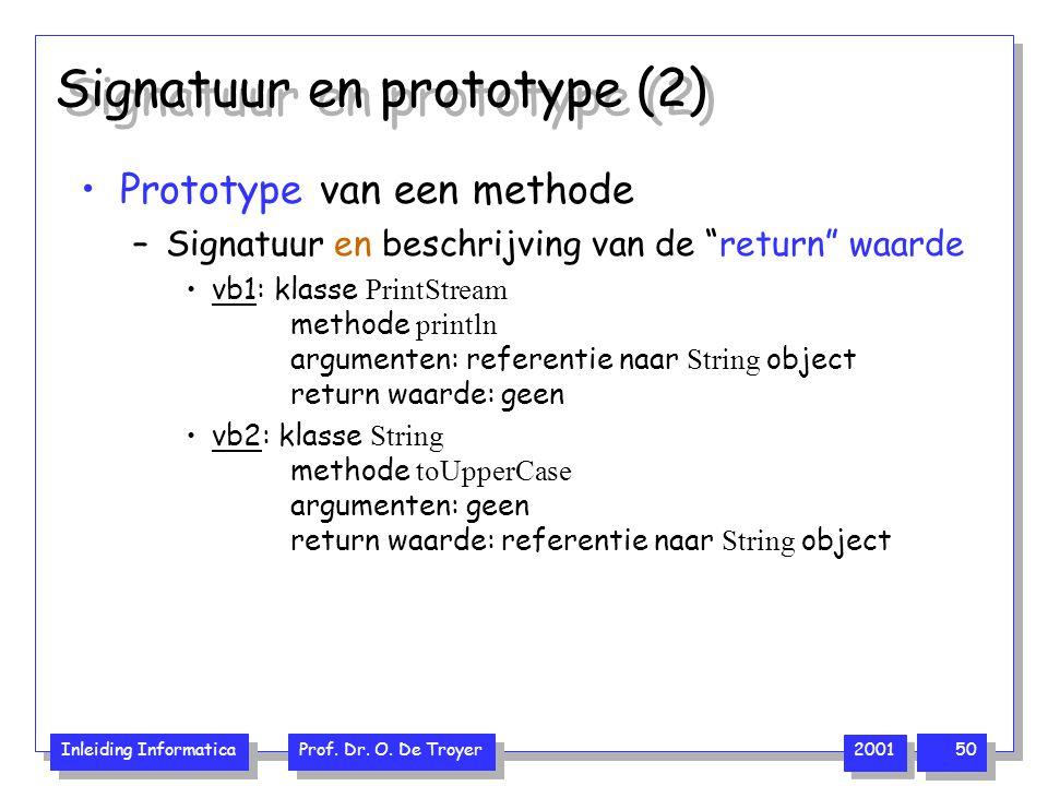 """Inleiding Informatica Prof. Dr. O. De Troyer 2001 50 Signatuur en prototype (2) Prototype van een methode –Signatuur en beschrijving van de """"return"""" w"""