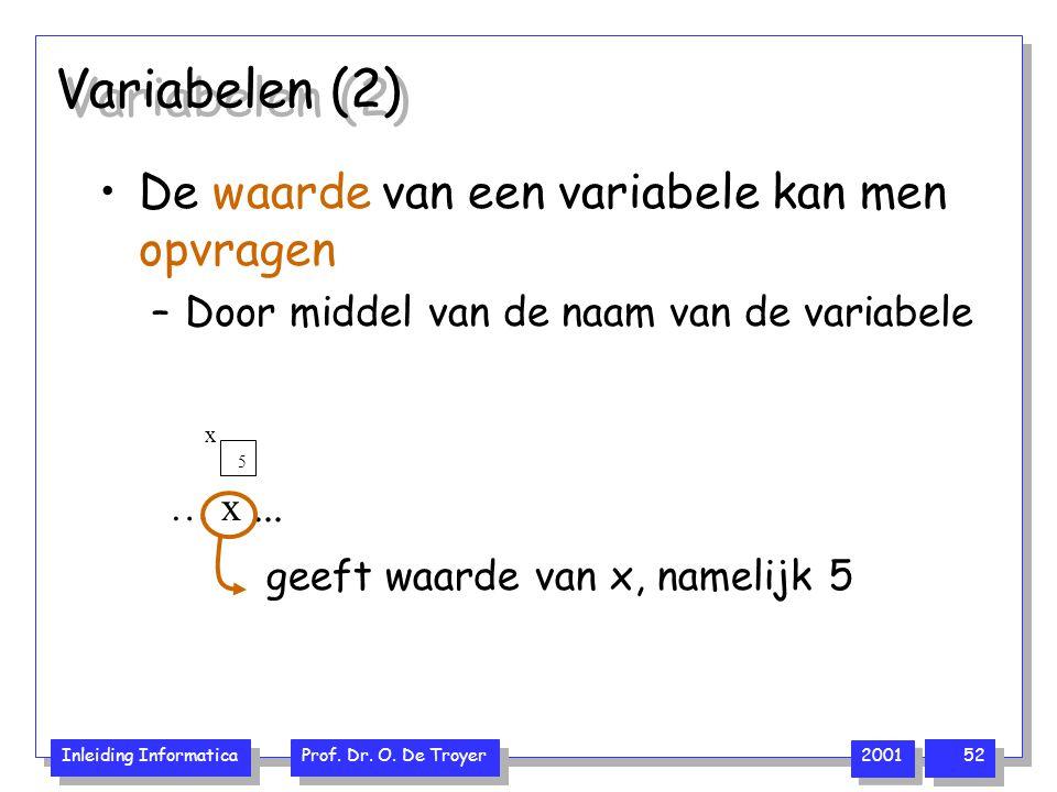 Inleiding Informatica Prof. Dr. O. De Troyer 2001 52 Variabelen (2) De waarde van een variabele kan men opvragen –Door middel van de naam van de varia