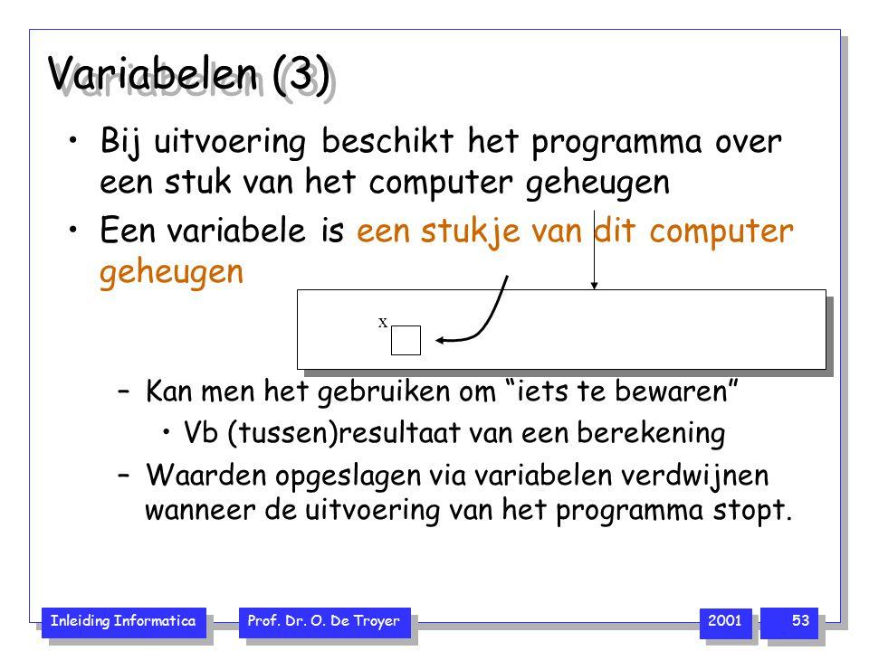 Inleiding Informatica Prof. Dr. O. De Troyer 2001 53 Variabelen (3) Bij uitvoering beschikt het programma over een stuk van het computer geheugen Een