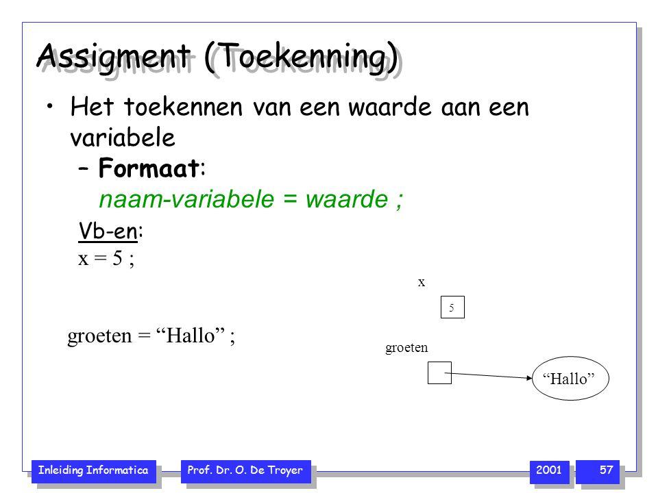 Inleiding Informatica Prof. Dr. O. De Troyer 2001 57 Assigment (Toekenning) Het toekennen van een waarde aan een variabele –Formaat: naam-variabele =