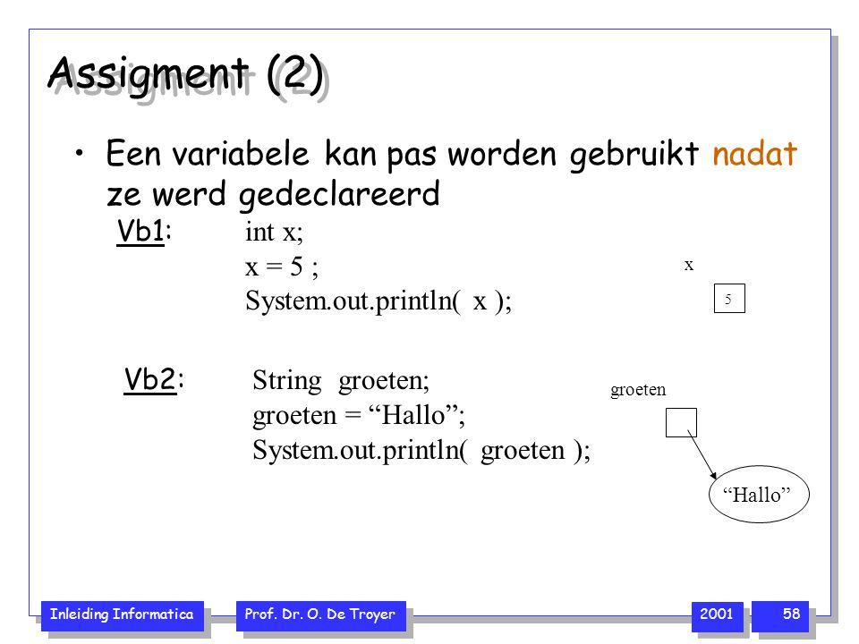 """Inleiding Informatica Prof. Dr. O. De Troyer 2001 58 Assigment (2) groeten """"Hallo"""" Een variabele kan pas worden gebruikt nadat ze werd gedeclareerd Vb"""