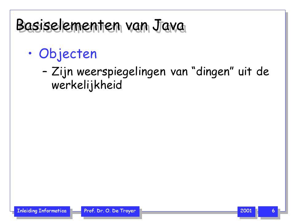 """Inleiding Informatica Prof. Dr. O. De Troyer 2001 6 Basiselementen van Java Objecten –Zijn weerspiegelingen van """"dingen"""" uit de werkelijkheid"""