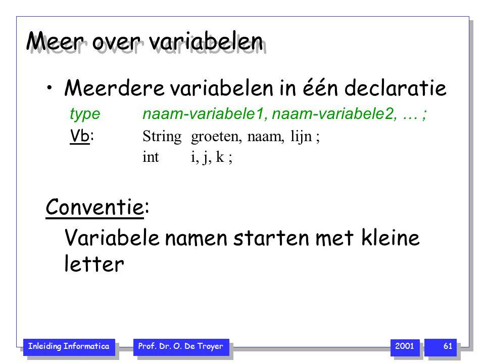 Inleiding Informatica Prof. Dr. O. De Troyer 2001 61 Meer over variabelen Meerdere variabelen in één declaratie typenaam-variabele1, naam-variabele2,