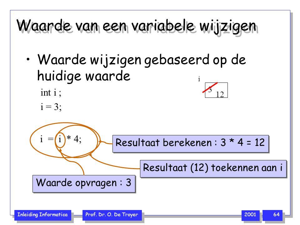 Inleiding Informatica Prof. Dr. O. De Troyer 2001 64 Waarde wijzigen gebaseerd op de huidige waarde int i ; i = 3; Waarde van een variabele wijzigen 3